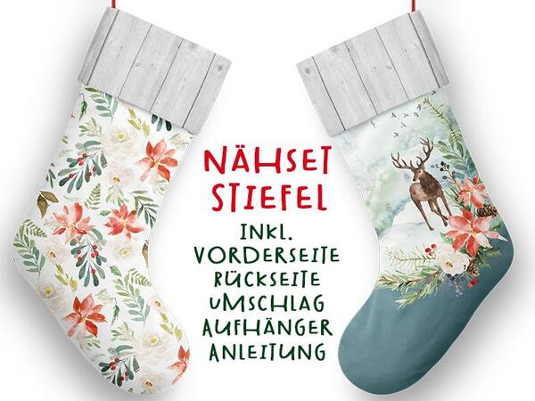 Nähset XL Stiefel, Hirsch, inkl. Schnittmuster, Advent / Nikolaus, Canvas by Biobox