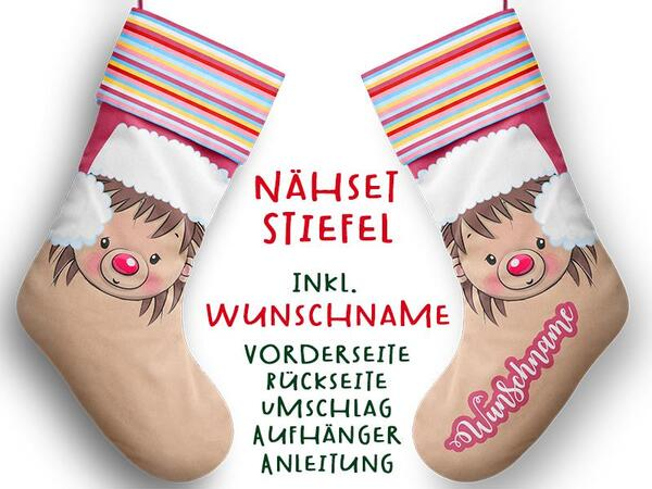 Nähset XL WUNSCHNAME Stiefel, Igel, Advent / Nikolaus, Canvas by Biobox