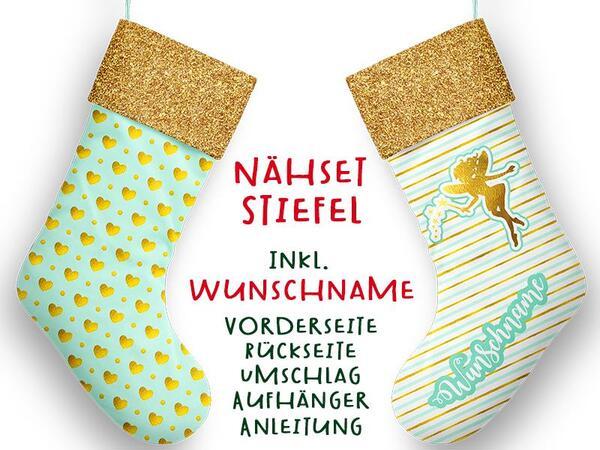 Nähset XL WUNSCHNAME Stiefel, fairy, Advent / Nikolaus,...