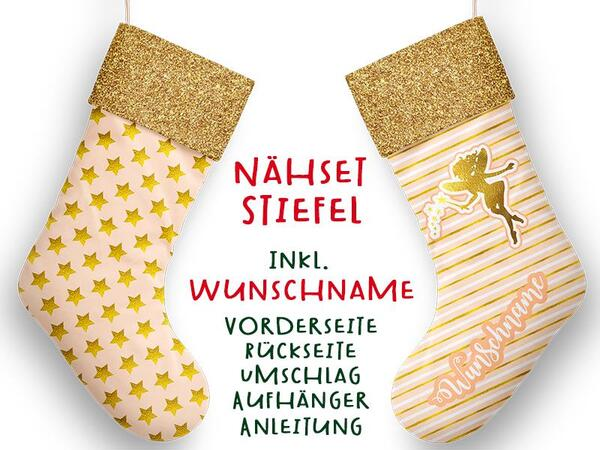 Nähset XL WUNSCHNAME Stiefel, fairy, Advent / Nikolaus, Canvas by Biobox