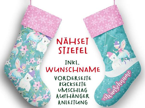 Nähset XL WUNSCHNAME Stiefel, Elfe / Fee, Advent / Nikolaus, Canvas by Biobox
