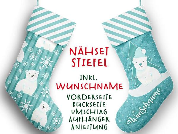 Nähset XL WUNSCHNAME Stiefel, Eisbär, Advent / Nikolaus, Canvas by Biobox