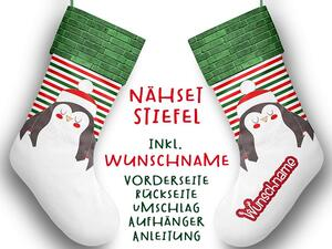 Nähset XL WUNSCHNAME Stiefel, Pinguin, Advent / Nikolaus,...
