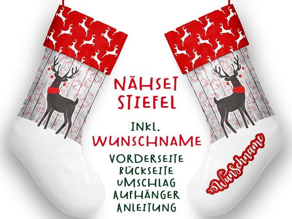 Nähset XL WUNSCHNAME Stiefel, Hirsch, Advent / Nikolaus, Canvas by Biobox