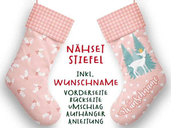 Nähset XL WUNSCHNAME Stiefel, Reh, Advent / Nikolaus,...