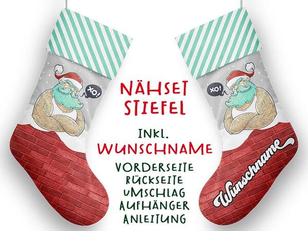 Nähset XL WUNSCHNAME Stiefel, cool santa, Advent /...