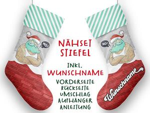 Nähset XL WUNSCHNAME Stiefel, Santa cool, Advent /...