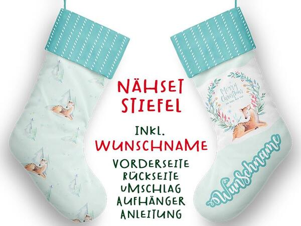 Nähset XL WUNSCHNAME Stiefel, Reh, Winterwald, Advent / Nikolaus, Canvas by Biobox