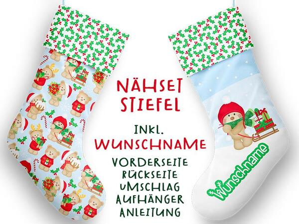 Nähset XL WUNSCHNAME Stiefel, Bär, Advent / Nikolaus, Canvas by Biobox