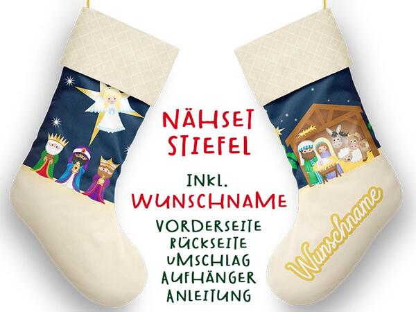 Nähset XL WUNSCHNAME Stiefel, Krippe, Advent / Nikolaus, Canvas by Biobox