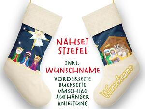 Nähset XL WUNSCHNAME Stiefel, Krippe, Advent / Nikolaus,...