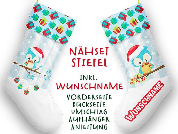Nähset XL WUNSCHNAME Stiefel, Eule, Advent / Nikolaus, Canvas by Biobox
