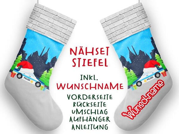 Nähset XL WUNSCHNAME Stiefel, Polizei, Advent / Nikolaus, Canvas by Biobox