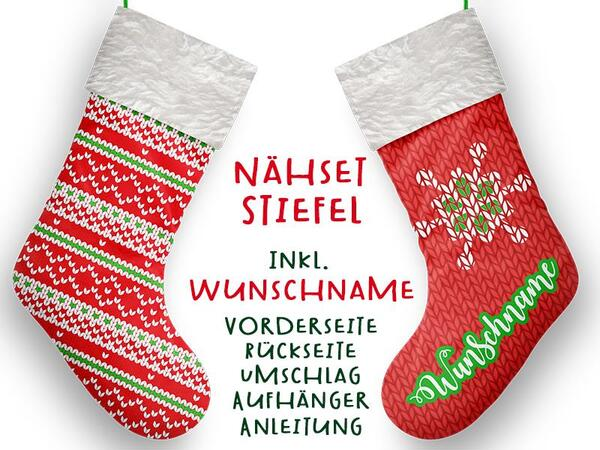Nähset XL WUNSCHNAME Stiefel, Strickmuster, Advent /...