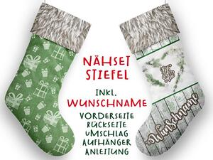 Nähset XL WUNSCHNAME Stiefel, let it snow, Advent /...