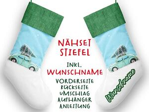 Nähset XL WUNSCHNAME Stiefel, cars & christmas, Geschenke...