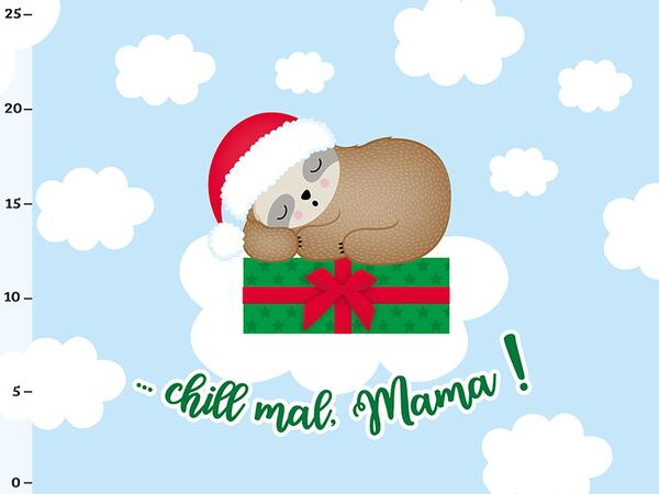 Bio-Sommersweat chill mal, Mama! Chilly das X-MAS Faultier, PANEL by Bio-Box