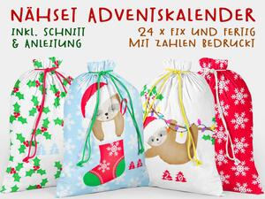 .Nähset Adventskalender, CHILLY das X-MAS Faultier, 24x...
