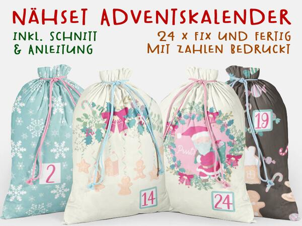 .Nähset Adventskalender, sweet santa, 24x fertig mit Zahlen drauf, Canvas by Biobox