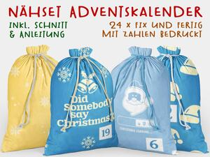 .Nähset Adventskalender, cool christmas, 24x fertig mit...