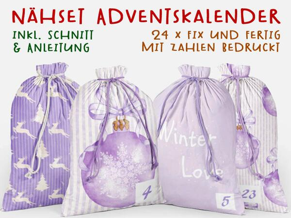 .Nähset Adventskalender, lavendel love winter, 24x fertig mit Zahlen drauf, Canvas by Biobox
