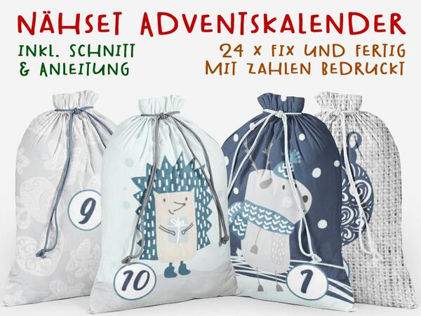 .Nähset Adventskalender, Tierwinter, 24x fertig mit Zahlen drauf, Canvas by Biobox