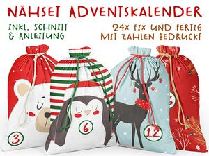 .Nähset Adventskalender, rednose & Co, 24x fertig mit...