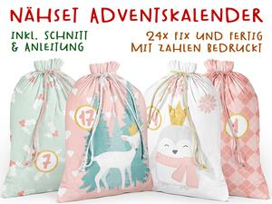 .Nähset Adventskalender, Reh & friends, 24x fertig mit...