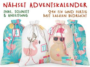 .Nähset Adventskalender, Flamigos Winter, 24x fertig mit...