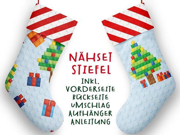 .Nähset XL Stiefel, Bausteine, inkl. Schnittmuster, Advent / Nikolaus, Canvas by Biobox