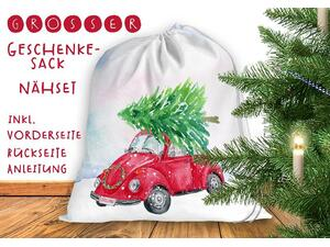 .Nähset Großer Geschenke-Sack cars & christmas, Canvas by...