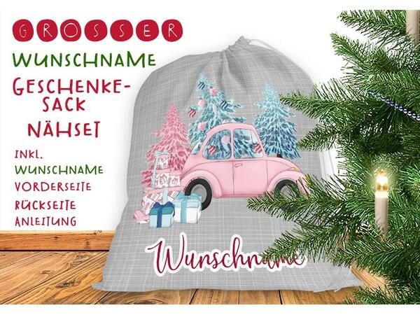 .Nähset Großer WUNSCHNAME Geschenke-Sack christmas car, Canvas by Biobox
