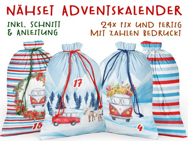 .Nähset Adventskalender WINTER CAMPING, 24x fertig mit...