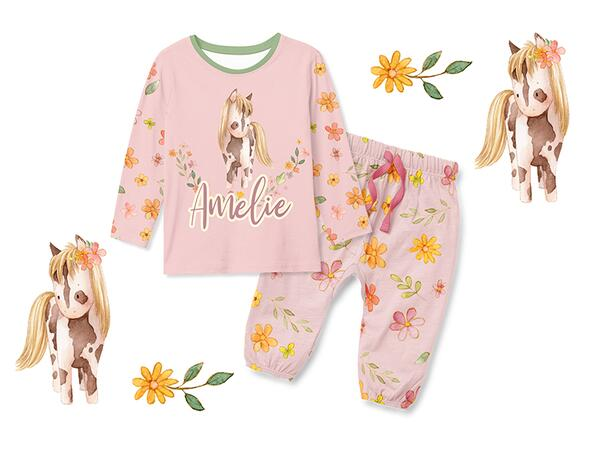 Bio-Jersey little Cowgirl, Pferd, creme by Bio-Box