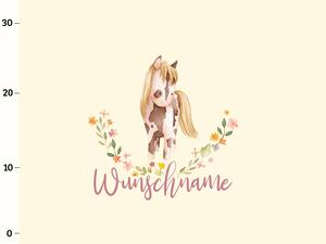 Bio-Jersey WUNSCHNAME Panel little Cowgirl, creme, BioBox