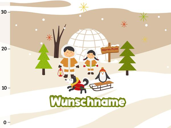 Bio-Sommersweat WUNSCHNAME Panel Eskimo Familie, Arctic friends, BioBox