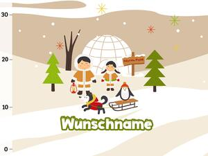 Bio-Sommersweat WUNSCHNAME Panel Eskimo Familie, Arctic...