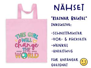 Nähset Tasche This girl will change the world, ohne Text,...