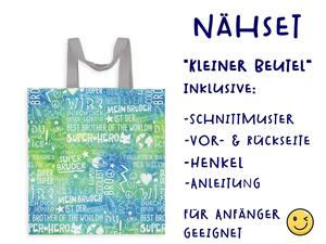 Nähset Tasche SuperBruder, blau grün, Canvas Biobox
