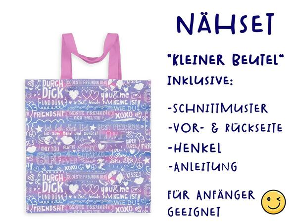 Nähset Tasche SuperFreunde, lila, Canvas Biobox