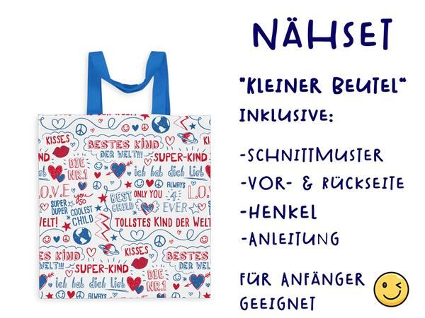 Nähset Tasche SuperKind, blau rot, Canvas Biobox