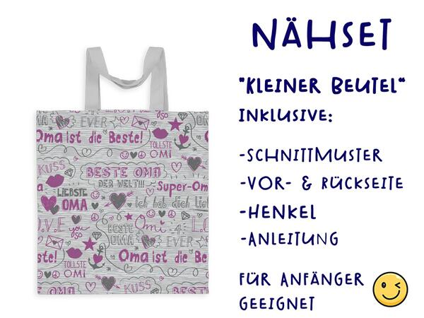 Nähset Tasche SuperOma, grau pink, Canvas Biobox