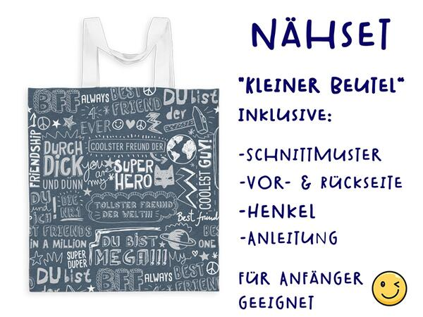 Nähset Tasche SuperFreunde, grau pink, Canvas Biobox