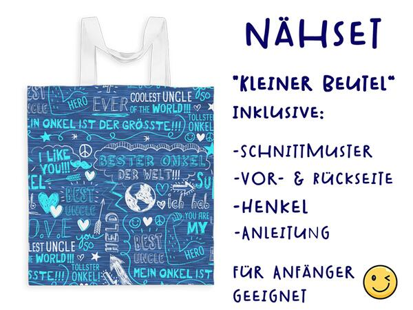 Nähset Tasche SuperOnkel, blau, Canvas Biobox