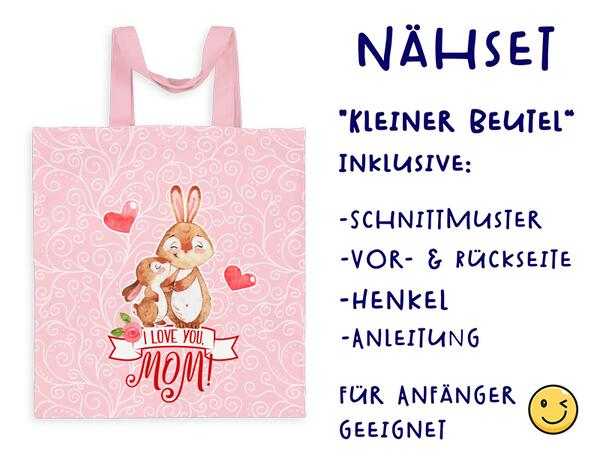 Nähset Tasche I love you mom, SuperMama, Canvas Biobox