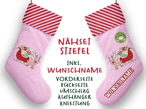 .Nähset XL WUNSCHNAME Stiefel, Advent / Nikolaus, Canvas by Biobox