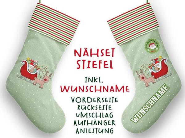 .Nähset XL WUNSCHNAME Stiefel, Advent / Nikolaus, Canvas...