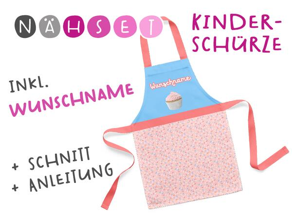 Nähset Kinder-Schürze mit WUNSCHNAME, Cupcake, inkl. Schnittmuster + Anleitung