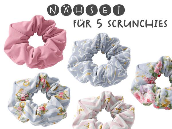 Nähset 5-er Set Scrunchies / 5 Haarbänder, sea girls,...