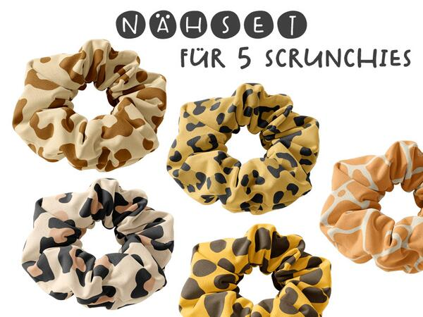 Nähset 5-er Set Scrunchies / 5 Haarbänder, LEO & Co II,...